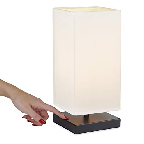 Revel Lucerna 13' Modern LED Touch Table Lamp, Energy Efficient Nightstand Lamp for Bedroom, White Fabric Shade + Oil Rubbed Bronze Finish
