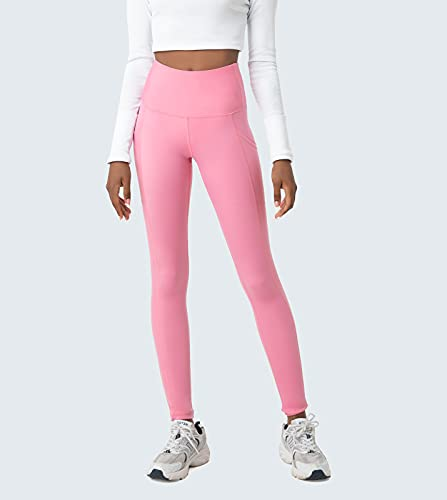 LAPASA Leggins Mujer con Bolsillos Laterales Cintura Alta Pantalón Deportivo Yoga y Ejercicio Mallas de Deporte Elástico Leggings Largo Push Up L01B1 XS Rosa