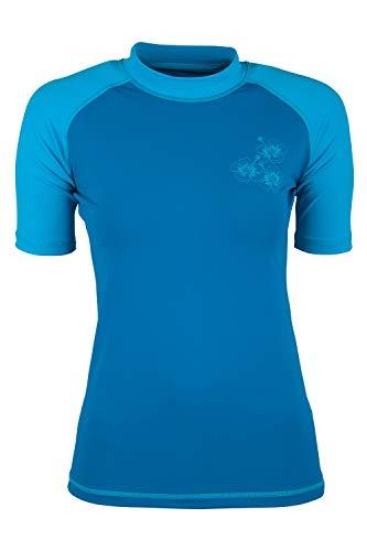 Mountain Warehouse Kurzärmeliges Badeshirt mit UV-Schutz für Damen - LSF50+, schnelltrocknendes Rash Guard, Flache Nähte - Für Schwimmen, Strand - unter Neoprenanzug Blau 38