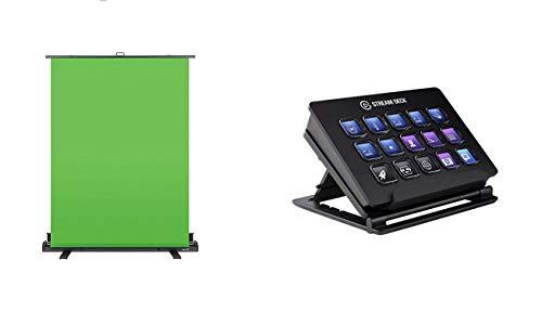 Elgato Green Screen Chroma-Key-Panel (zur Hintergrundentfernung mit automatisch arretierendem Rahmen), (148x180 cm) & Stream Deck Live Content Creation Controller (mit personaliserbaren LCD-Tasten)
