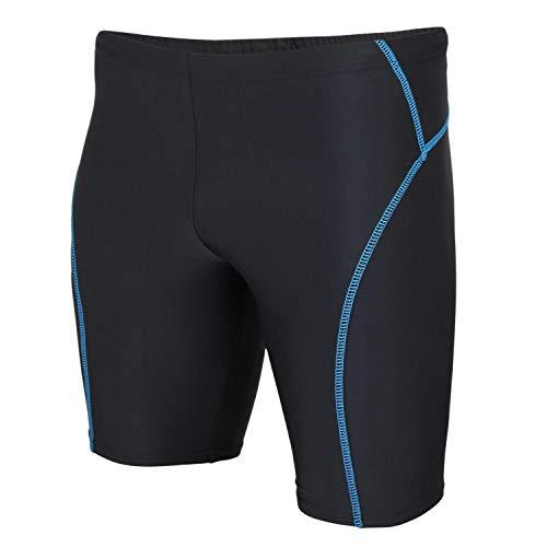 Aquarti Herren Badehose Knielang Schwimmhose Jammer, Farbe: Schwarz/Blau, Größe: L