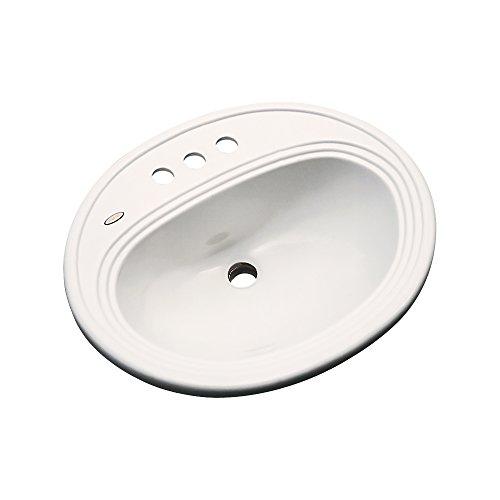 Dekor Sinks 83402 Vail Cast Acrylic Self Rimming 3 Hole Bathroom Sink, Almond