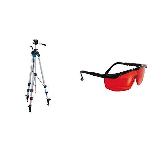 Bosch Professional Baustativ BT 250 (Arbeitshöhe: 97,5 -250 cm, Gewicht: 3,4 cm) & Stanley Laserbrille 1-77-171 Rot – Laserlichtbrille für einfacheres Erkennen von Laserstrahlen