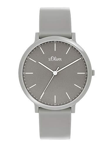 s.Oliver Unisex– Erwachsene Analog Quarz Uhr mit Silicone Armband SO-3956-PQ