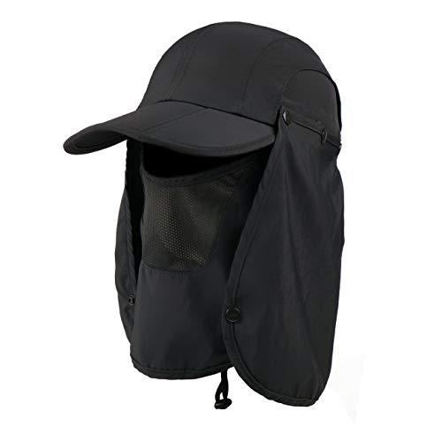 Boundless Voyage Hommes Femmes en Plein Air Chapeau Masque Visage Réglable Camping Randonnée Pêche Chapeau UPF 50+ D'été Jungle Cap
