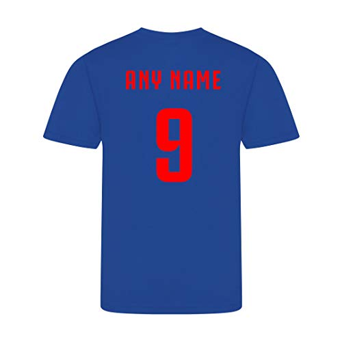 Sportees Retro Kids Personalised Royal Blue 2020 England Style Football Kit With FREE Gym Bag Youth Football England Boys Or Girls Football Jersey - 5/6 Years