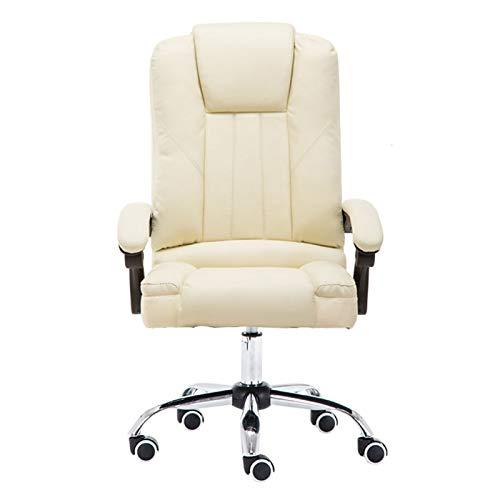 Silla de oficina ergonómica con apoyo sentado, silla giratoria para ordenador, con reposabrazos ajustable, silla de escritorio (color: creamy-white , tamaño: patas de nailon)
