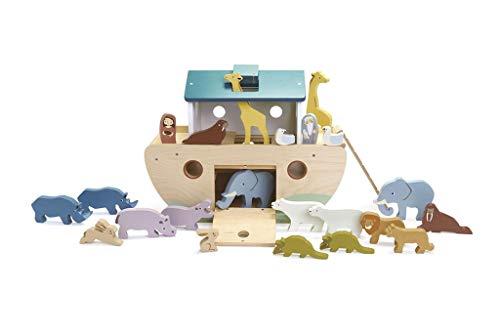 Tender Leaf Toys - Arca di legno di Noè, grande gioco di selezione arca in legno con animali in legno