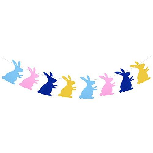 BETESSIN Striscione Pasquale Coniglio Ghirlande di Bandieria Colorata in Feltro Banner di Coniglietto Decorazione Addobi per Festa di Pasqua Cameretta Giardino (4 Colori)