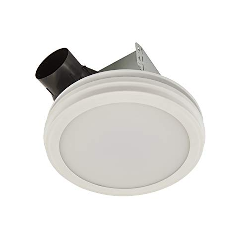 bathroom fan light combos Broan-NuTone AR80LWH Bathroom Exhaust Fan with LED Light, Round Flat Panel, 80 CFM, 2.0 Sones, White