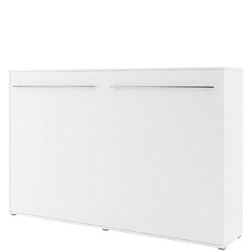 Schrankbett Concept PRO Horizontal, Wandklappbett, Bettschrank, Wandbett, Schrank mit integriertem Klappbett, Funktionsbett (140x200 cm, Weiss matt)