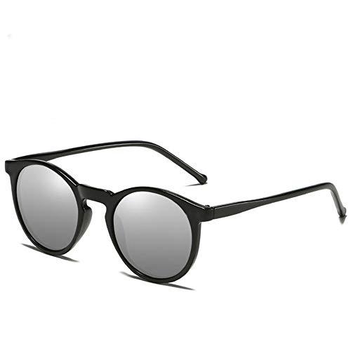 WPHH Gafas De Sol Polarizadas para Hombre Y Mujer Gafas De Sol Redondo Retro Gafas Vintage para Hombre Y Mujer, Gafas De Sol UV400,Black Silver