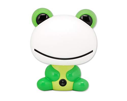 DSstyles Luz de noche Cute Cartoon Green Frog Lámpara de mesa de luz LED lámpara de escritorio para bebés niños niños con cálida luz blanca regalo de cumpleaños