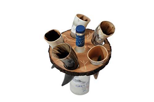 Loop Disparo vidrios de consumición Conjunto de 5 - Genuino Artesanal Cuernos - Taza Cuerno Original (con el Soporte de Madera)