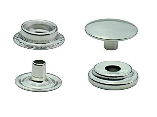 Ista Tools S-Feder, Ring-Feder Druckknöpfe 10mm, 12,5mm, 15mm, Stahl, Spindelpresse, Nieten (50, 15mm, Silber, Ring-Feder)