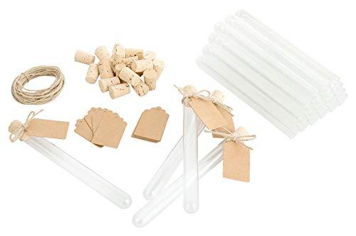 Tubos de ensayo para manualidades y decoración, corcho 100% de corcho, tarjetas de papel reciclado, tubos de ensayo, regalos para bodas, bautizos y comuniones, 160 mm x 14 mm x 0,8 mm (100)