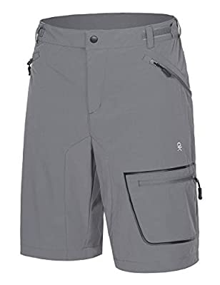 Little Donkey Andy Men's Lightweight Quick-Dry Hiking Shorts Stretch Breathable Sun Protection Outdoor Cargo Shorts Gray L