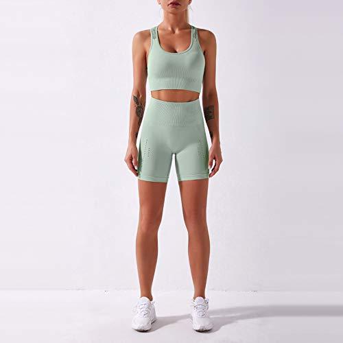 Conjunto de Sujetador Deportivo y Pantalones Cortos para Mujer, Mallas de Yoga para Ciclismo, Camisetas con Espalda Descubierta y Pantalones de Cintura Alta para Gimnasio, Calles, 2 uds.