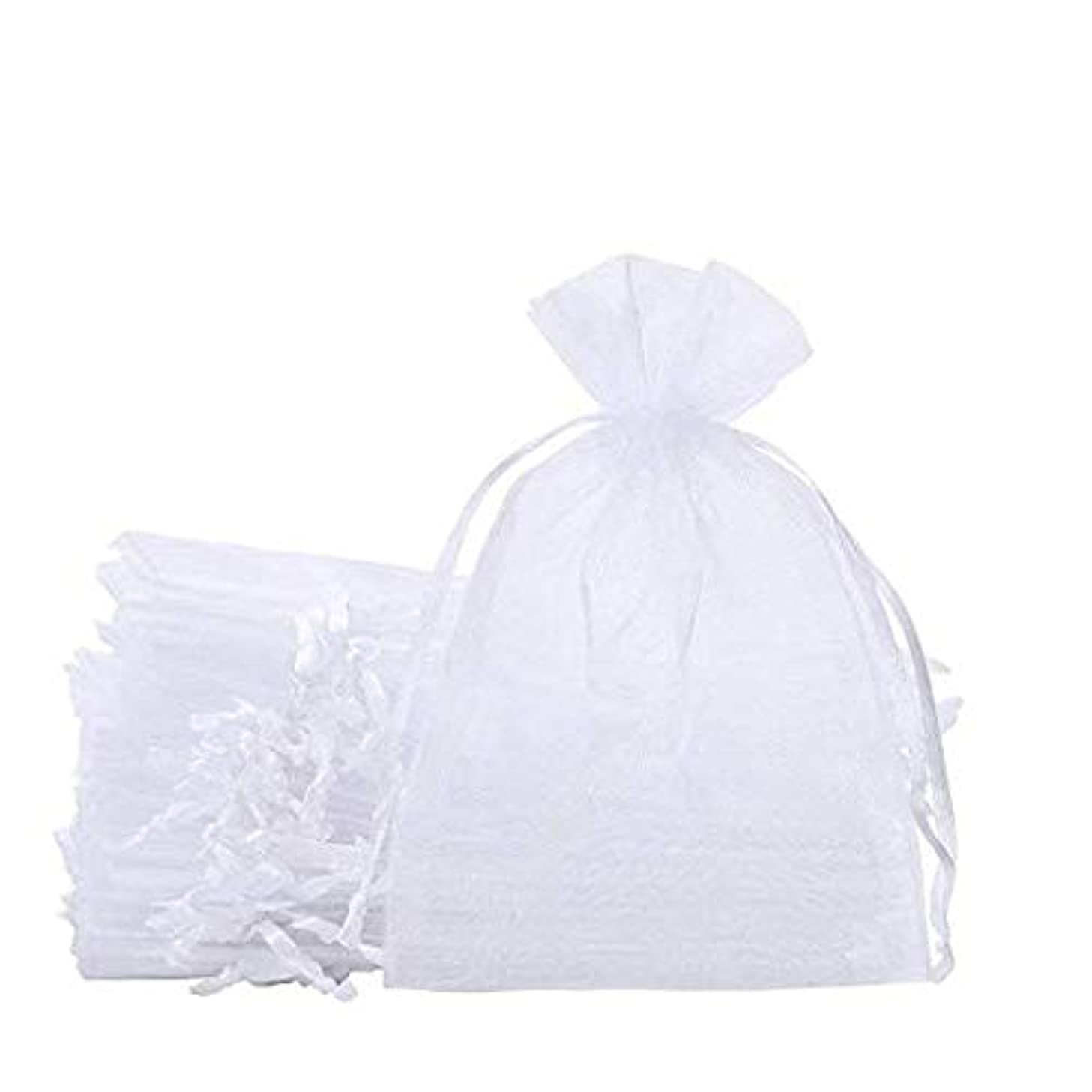 100Pcs 5x7 Inches Sheer Organza Bags Jewelry Candy Drawstring Pouches for Wedding Party Christmas Favor Gift Bags (White, 5x7