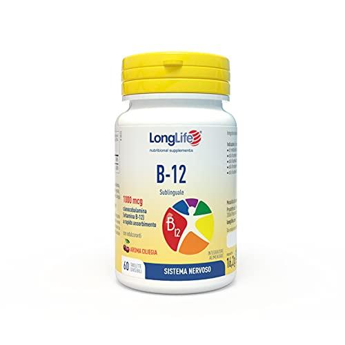 B-12 1000 mcg LongLife | Integratore di vitamina B12 | Formula esclusiva sublinguale | Elevato Assorbimento | Aroma Ciliegia| 60 tav. divisibili | Doping Free, Gluten Free & Vegan