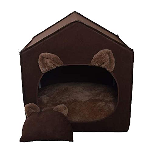 WWQQ Casa semicerrada para mascotas creativa cama para mascotas extraíble almohadilla interior adecuada para nido de mascotas pequeñas y medianas