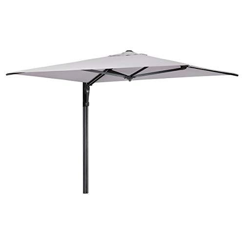 Sekey® 190 x 190 cm Wandmontage-Sonnenschirm Marktschirm Gartenschirm Terrassenschirm Ampelschirm hellgrau Quadratisch Sonnenschutz UV50+