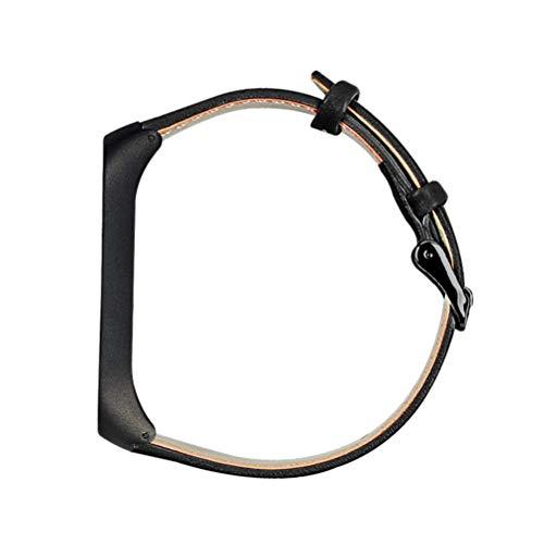 Nicerio Pulseira de relógio de couro compatível com Mi Band 4 para smartwatch, acessórios de substituição, Preto, 21x2 cm