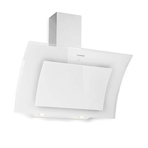 KLARSTEIN Sabia - Hotte aspirante, 600m³/h, 3 vitesses Filtres à graisse, Eclairage LED, Verre de sécurité, Kit de montage complet, Ecran télescopique, 90 cm - Blanc