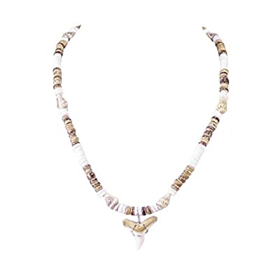 BlueRica Mako Shark Tooth Pendant on Puka Shell & Tiger Coconut Beads Necklace with Tiger Nassa Shells