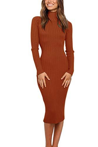 MEROKEETY Women's Ribbed Long Sleeve Sweater Dress High Neck Slim Fit Knitted Midi Dress, Caramel, S