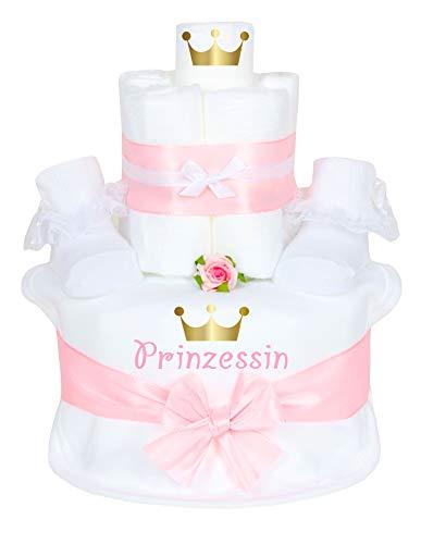 Trend Mama Windeltorte im Geschenkkarton- Mädchen- Babysocken + hochwertig bedrucktes Lätzchen mit Prinzessin goldene Krone
