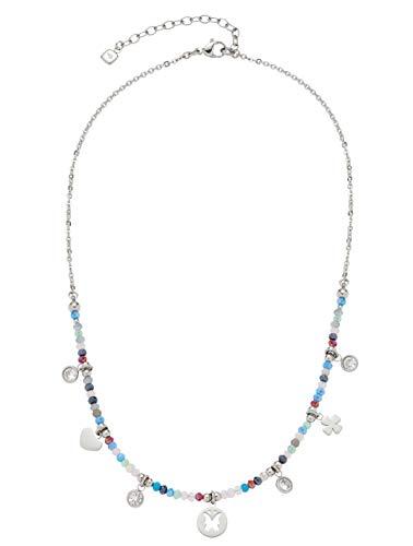CIAO BY LEONARDO Damen-Halskette Estate, Edelstahl mit mehrfarbigen Glas-Perlchen und Mini-Charms, mit Karabinerverschluss, Länge 400 mm, 016916