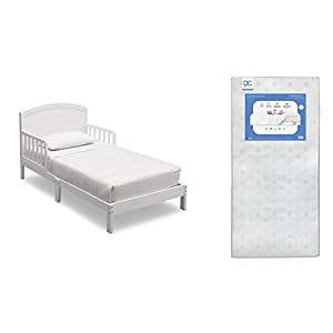 Delta Children Abby Toddler Bed, Bianca + Delta Children Twinkle Galaxy Dual Sided Recycled Fiber Core Toddler Mattress (Bundle)
