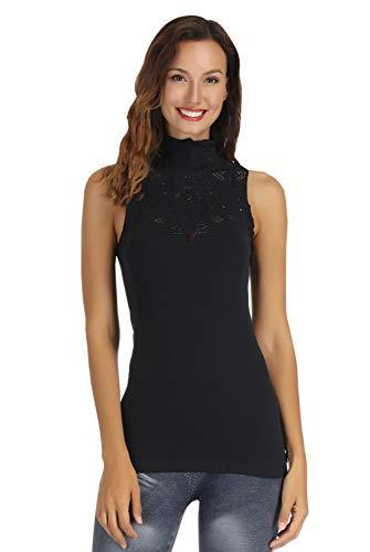 Disbest Damen-Trägershirts, Schlüsselloch Hoch Ausschnitt ärmellose Stretch Beiläufig Pullover Spitze T-Shirt, Damen Strick Weste Top(schwarz 42)