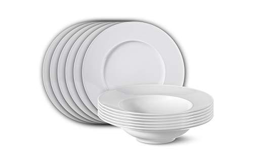 KPM Berlin Urania Tafel-Set 12 TLG. Porzellan Porzellan-Set - Teller-Set - Handmade & als Geschenk verpackt - Weiß