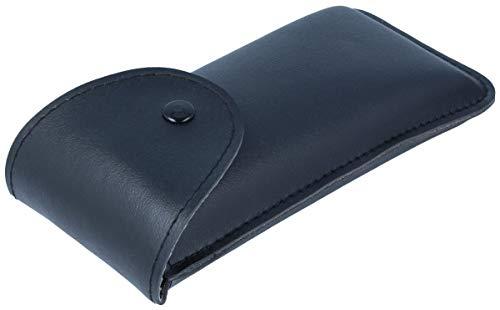 robustes, großes Einsteck-Brillenetui mit Überschlag und Clip in schwarz