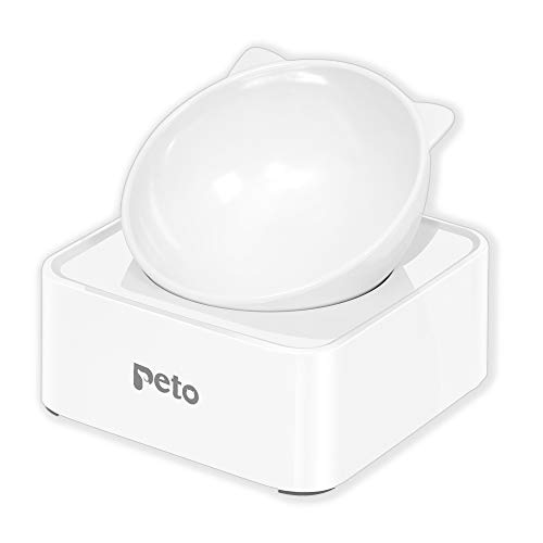 Peto Cat Dog Bowl Raised Cat Food Water Bowl with Detachable Elevated Stand Pet Feeder Bowl No-Spill, 0-30°Adjustable Tilted Pet Bowl Stress-Free Suit for Cat Dog (White) (White)