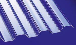 Polycarbonat Wellplatten Profilplatten Trapez 76/18 klar ohne Struktur 6000 x 1040 mm