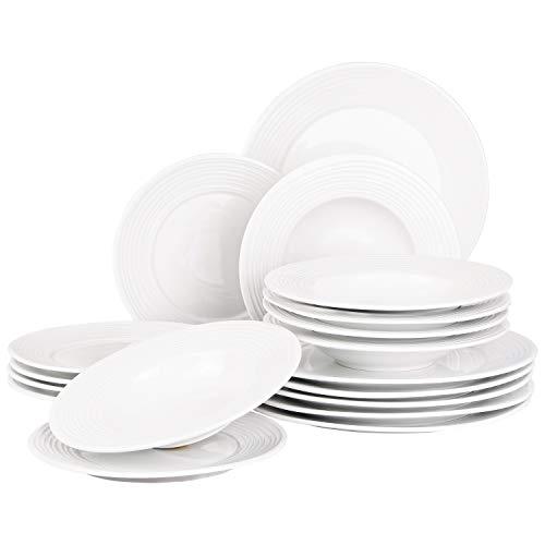 Suleno Geschirr Set Elena Tafelservice 18 teilig rund reinweiß Porzellan Geschirrset für 6 Personen Teller Suppenteller Dessertteller