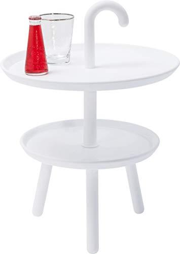 Kare Beistelltisch Jacky White, 82084, Kleiner, runder Tisch mit Funktion, Couchtisch auf Zwei Ebenen, große Ablagefläche, (HxBxT) 56 x 42 x42 cm, Polypropylen