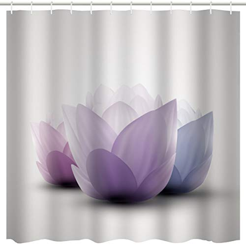 BROSHAN Lotus Flower Decor Shower Curtain,Summer Purple Ombre Floral Abstract Lotus Flower Nature Blossom Art Print,Waterproof Polyester Fabric Bathroom Decor Set with Hooks,72x72 Inch,Purple,White