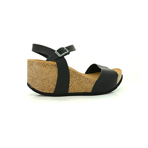 NATUNED Sandalo a Fascia Larga con Cinturino Regolabile e Zeppa da Donna Art. CH10 Plantare in Lattice anatomico Comfort