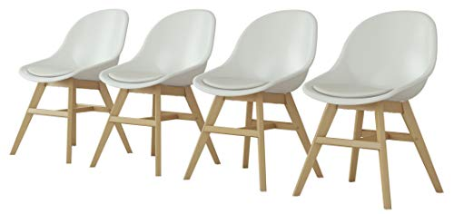 Amazonia 4 Piece Side Chairs Set Durable Teak Finish Indoor Dining Chairs Eucalyptus Wood Patio Seating Set