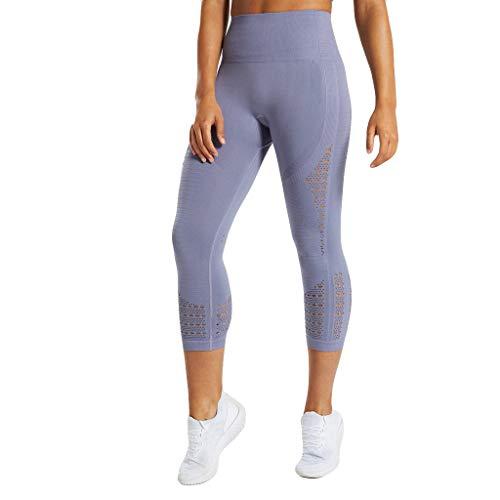 LInkay Damen Hose, Sieben Minuten Yoga-Hose Laufen Fitness Sport HüFt-Stretch Mit Hohem Bund Strumpfhose Mode 2019 (Blau, Small)