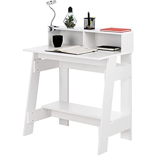 COMIFORT Escritorio Ordenador - Mesa Escritorio con 3 Superficies y Diseño Industrial, Escritorios Juveniles para Estudio o Despacho. Mesa Ordenador Pequeña y Funcional – GAMONAL Blanco ⭐