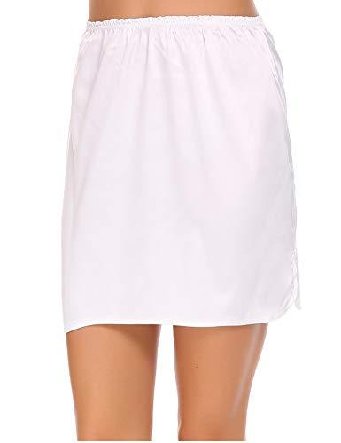 ADOME Damen Satin Unterrock Kurz Miederrock Basic nachtwäsche für Kleid Unterrock Lingerie Halbrock Unterkleid Einfarbig Vintage Elastische Underskirt