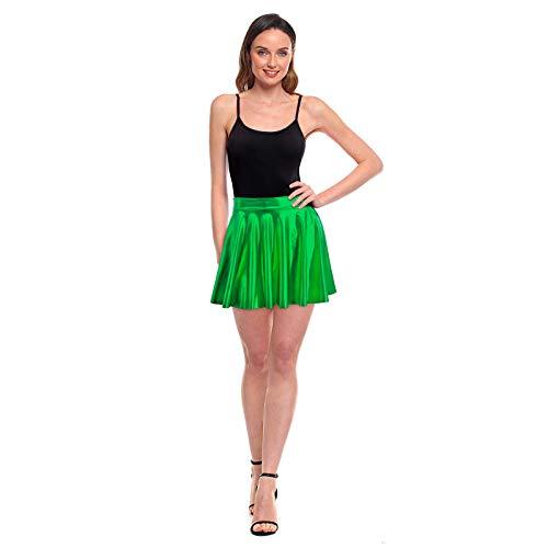 Faldas Mujer Cortas Plisada Verde Metalizada Brillante [Falda Skater Patinaje]【Talla M】 Multifunción Disfraz Baile
