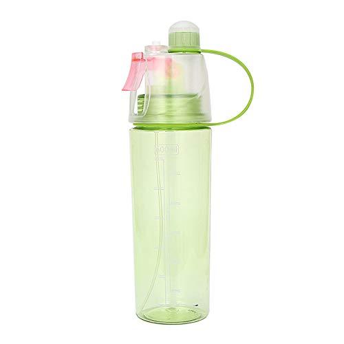 DDDCM 600 ml Sport Spray Botella de enfriamiento Ciclismo Niebla Spray Agua Taza Gimnasio Botella Botella A Prueba de Fugas Copa de Bebida Camping Senderismo (Color : Verde)