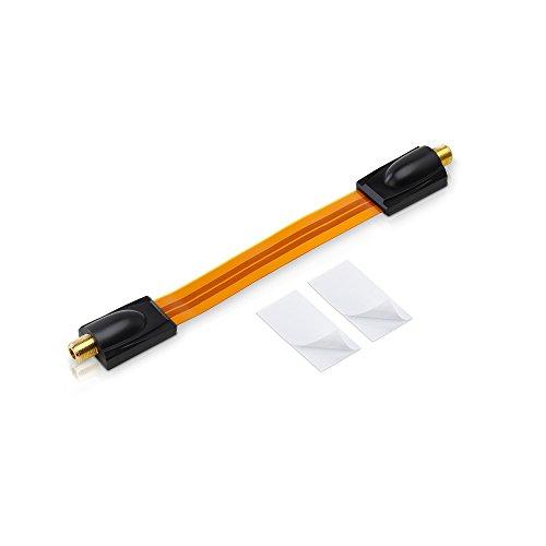 conecto CC50242 Premium Fensterdurchführung für SAT Kabel koaxial inkl. Klebepads (F-Kupplung auf F-Kupplung, vergoldet) inkl. Klebepads, 20 cm …