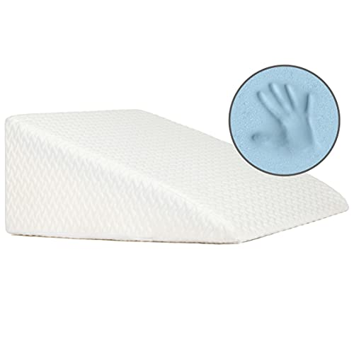 Milliard Bed Wedge Pillow with Memory Foam Top -Helps with Acid Reflux and Gerds, Reduce Neck and Back Pain, Snoring, and Respiratory Problems- Breathable and Washable Cover (12 Inch)